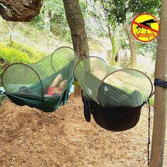 Parachute Anti Mosquito Net Hammock Beach Tent Camping Sleeping Hammock Portable Outdoor Leisure Hanging Bed Light Hammock