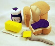 HOMEMADE BREAD - PDF Felt Food Pattern (Whole Loaf, Half Loaf, Slices, Butter and Dish, Jam, Bread Pan, Oven Mitt). $6.00, via Etsy.