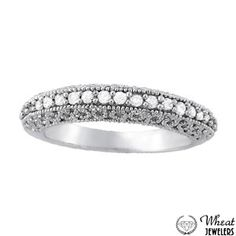 Prong Set Diamond Wedding Band with Open Filigree Sides available at Wheat Jewelers