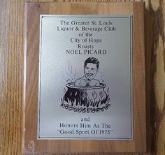 NOEL PICARD St. Louis Blues GOOD SPORT OF 1975 PLAQUE Trophy NHL Hockey AWARD