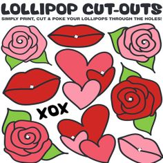 Free printable: Valentines Day, love-themed Lollipop Cut-outs #fundraising #free #valentines #lollipops #printable #printables #downloads #goodies #diy