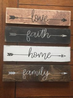 Love/Faith/Home/Family Signs/Farmhouse Decor / French Country /Wood signs/ DIY Wood Signs Country Decor French LoveFaithHomeFamily Signs SignsFarmhouse Wood Country Wood Signs, Diy Wood Signs, Country Farmhouse Decor, Pallet Board Signs, Vintage Wood Signs, Wood Signs Home Decor, Farmhouse Front, Farmhouse Signs, Country Kitchen