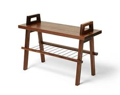 "28"" entryway/hallway storage bench with shoe rack in walnut"