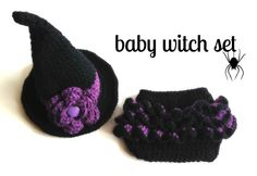 Crochet Baby Witch Hat & Diaper Cover Set, Photo Prop, Halloween, Newborn, Free Shipping via Etsy