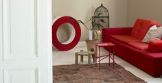I the whimsy, the pop of color, the simplicity and the eclectic feel. Interior Design Advice, Red Sofa, Home And Away, My Dream Home, Color Combos, Color Inspiration, Color Pop, Beautiful Homes, Table