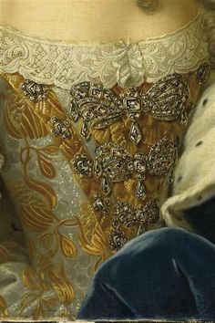 18thcenturyfashion:    Detail of the painting Marie-Josèphe de Saxe, Dauphine de France en 1747    This needs reblogging. Sorry I've been gone but I'm back now and I will attend soon to the two requests in my ask box <3