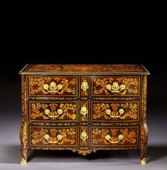 A LOUIS XIV ORMOLU MOUNTED FRUITWOOD FLORAL MARQUETRY COMMODE, PARISIAN WORKSHOP, SECOND HALF OF THE 17TH CENTURY, CIRCLE OF RENAUD GAUDRON (CIRCA 1653-1727)
