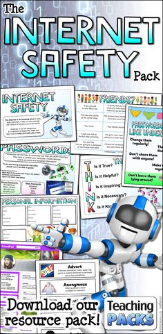 Help your children to become confident and safe digital citizens with our Internet Safety pack! Includes a wide range of online safety teaching resources, interactive classroom activities and eye-catching display resources! Internet Safety For Kids, Safe Internet, Cyber Safety For Kids, Kids Safety, Ict Display, Teaching Packs, Teaching Resources, Teaching Activities, Stem Activities