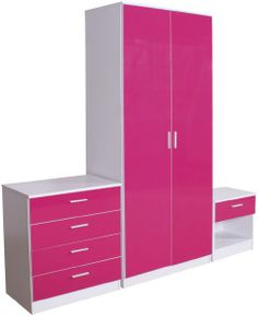 Pink bedroom furniture- I think they would look awesome in a girls garage - like how men have cabinets in their garage for tools- Modern Bedroom Furniture, Ikea Bedroom, Cheap Furniture, Kids Furniture, Bedroom Decor, Bedroom Ideas, Wardrobe Drawers, 2 Door Wardrobe, Creative Beds