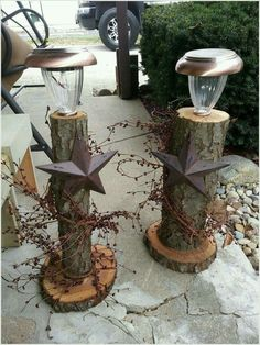Little log solar lights