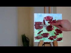 Tanja Bell How to Paint Flowers Poppies Tutorial Palette Knife Painting Technique Lesson Demo - YouTube