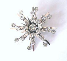 Rhinestone Star Burst Snow Flake Brooch by LovesVintageDelights, $24.00