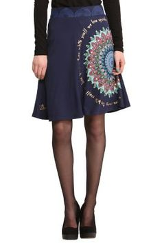 Flared knee-length skirt with a versatile design and details that are  Desigual. Check out the details etched into the elasticated waistband. 497023ea5dd2