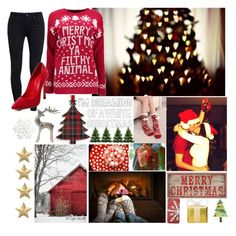 """""""Jingle Bells etc."""" by mytmouse ❤ liked on Polyvore featuring Paige Denim, Casadei, Artcuts, Eliot Raffít and Pier 1 Imports"""