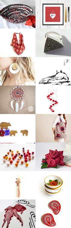 ♥♥♥ by Georgia on Etsy-- #etsy #treasury #red #black #basket #bowl #fibernique #scarf Pinned with TreasuryPin.com