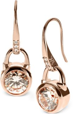 Rose Gold Tone Silk Padlock Drop Earrings - Lyst
