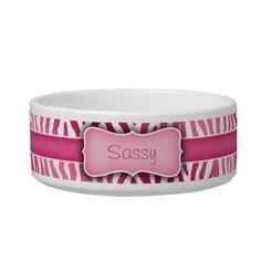 Personalized Pink and White Zebra Pattern pet bowls