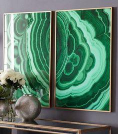 Malachite Wall Art – Viridian - Malachite Stone Wall Art In House Design Diy Tapete, Modern Farmhouse Living Room Decor, Green Rooms, Deco Design, Foyer Design, Hunter Green, Decor Interior Design, Modern Interior, New Art