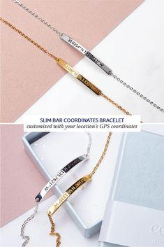 Dainty Coordinates Bracelet- Coordinates Bar Bracelet -GPS Coordinates Bracelet-Latitude Longitude Jewelry - Coordinates Gift - Graduation Gift - BFF bracelet - Anniversary gift - Graduation Party Ideas