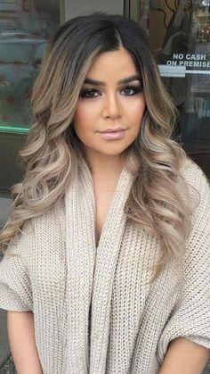 Over ash blonde black brown ombré hair tan olive skin