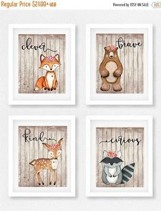 HOLIDAY SALE 15% OFF Woodland nursery set, Girls room, Fox picture, Woodland theme, Baby shower gift, Woodland Decor, Bear picture, Woodland