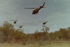 Hueys leave a landing zone, 1971.