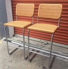 Vintage Pair of Cesca Style Bar Stools