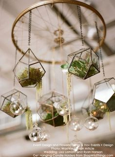 2019 Modern Wedding Trend: Terrarium Geometric Details & Ideas terrariums wedding chandelier decor v Air Plants, Indoor Plants, Luminaire Original, Wheel Chandelier, Chandelier Wedding, Floral Chandelier, Terrarium Wedding, Wedding Plants, Decoration Plante