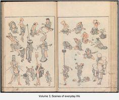 Image gallery: (Denshin kaishu) Hokusai manga, vol. 1 (伝神開手)北斎漫画, 初編 ((Transmitted from the Gods) Random Drawings by Hokusai, vol. History Of Manga, Japanese Bird, Sketches Of People, Create Drawing, Japanese Artists, Western Art, Woodblock Print, Asian Art, Manga Art