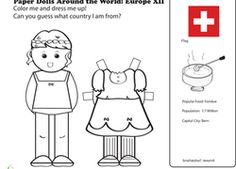 First Grade Social Studies Worksheets: Paper Dolls Around the World: Europe XII Kids Around The World, Holidays Around The World, Around The Worlds, Social Studies Worksheets, Worksheets For Kids, Coloring For Kids, Coloring Pages, Coloring Worksheets, Gs World