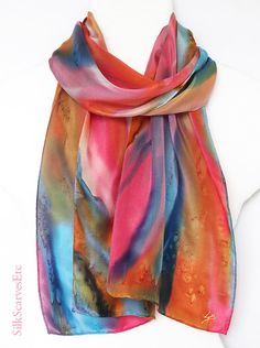 Hand painted silk scarf  Abstract silk scarf  by SilkScarvesEtc, $55.00