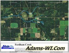 #troutfishing Fordham Creek Trout Stream is located in Adams County Wisconsin here you can find Info, Maps, Photos, Aerial Images plus Area Information like nearby Lakes, Public Land, Townships and communities. #adamscountywi
