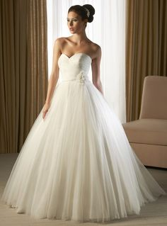 Ball Gown Sweetheart Shirred Bodice Beading Flower Waist Sequined Tulle Wedding Dress-wb0024, $287.95