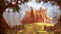 "Jeremy Vickery, Pixar Lighting TD; ""The Charm Maker's Cottage""; Corel Painter 9"