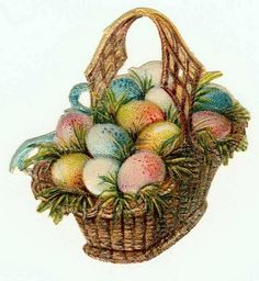 24 Vintage Easter Images and Graphics to Share ~ Enjoy! Please Vis it Nanalulus Linens & Handkerchiefs Beautiful L. Images Vintage, Vintage Cards, Vintage Clocks, Easter Egg Basket, Easter Eggs, Easter Bunny, Image Nature Fleurs, Easter Fabric, Diy Ostern