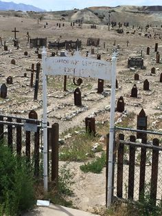 In Tonopah, Nevada.  cemetery with mostly wooden grave markers