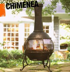 A chimenea is a freestanding fireplace that is usually wood-burning. It often has a round base with a narrow chimney for smoke ventilation.