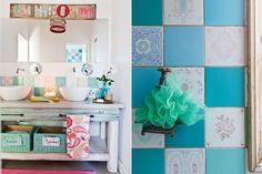Un baño colorido y funcional  Este baño, que comparten tres hermanos, tiene un revestimiento de azulejos de los años 60 que la dueña de casa consiguió en diferentes partidas.  /Santiago Ciuffo