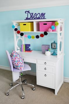 Interior Design: Tween Girl Bedroom Design Purple and Turquoise – Pink Peppermint Design - bedroom furniture for teens Teenage Girl Bedroom Designs, Teenage Girl Bedrooms, Tween Girl Bedroom Ideas, Girl Rooms, Loft Bedrooms, Bedroom Themes, Teen Girl Desk, Tween Girls, Preteen Girls Rooms