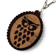 Handmade Gifts | Independent Design | Vintage Goods Wooden Owl Necklace - New Arrivals