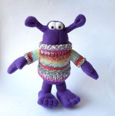 fleece monster doll purple monster cute by TreacherCreatures