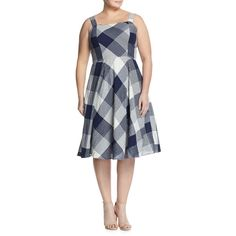 Taylor Plus Sleeveless Check-Print Fit-&-Flare Dress ($60) ❤ liked on Polyvore featuring plus size women's fashion, plus size clothing, plus size dresses, navy, fit flare dress, sleeveless dress, navy fit and flare dress, zip dress and navy blue fit and flare dress
