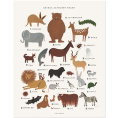Rifle Paper Co. Animal Alphabet Chart print