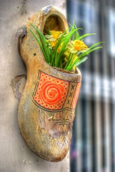 Decorative Dutch Wooden Shoes ~ Amsterdam Holland The Netherlands Dutch Wooden Shoes, Wooden Clogs, Holland Netherlands, Amsterdam Holland, Mellow Yellow, Delft, Daffodils, Garden Art, Container Gardening