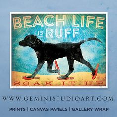 Beach life is Ruff dog illustration in sandals by geministudio, $25.00