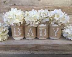 Bebé ducha Decor, vivero decoración, rústica Baby Shower, arpillera Baby Shower, decoración de ducha neutro de género, género Neutral Baby Shower, Baby Shower