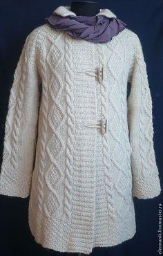 Купить Пальто  вязаное спицами светлое осеннее - вязаное пальто, шерсть 100%, шерсть, стильное