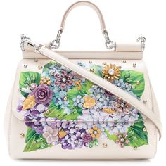 Dolce & Gabbana medium Sicily handbag with appliqués ($3,375) ❤ liked on Polyvore featuring bags, handbags, white leather handbags, tote purses, floral print purse, leather tote bags and leather hand bags