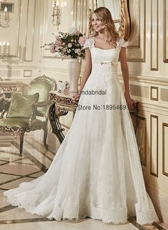 A-Line Wedding Dresses Cap Sleeves White Tull Lace Bow Bridal Gown Lace Up Court Train Vestidos De Noiva Wedding Gown L5014