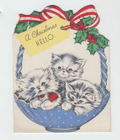 Vintage Blue Basket Full of Kittens Christmas Greeting Card
